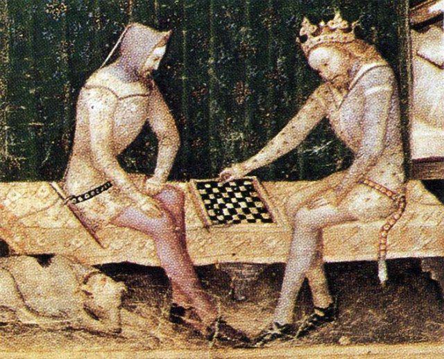 Il celebre e mitologico Re Artù in una meravigliosa miniatura tratta da un manoscritto di Guiron le Courtois, risalente al 1370-80 circa. #Scacchi #Chess #KingArthur