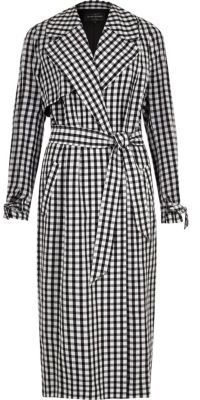 River Island Womens Black gingham check belted trench coat