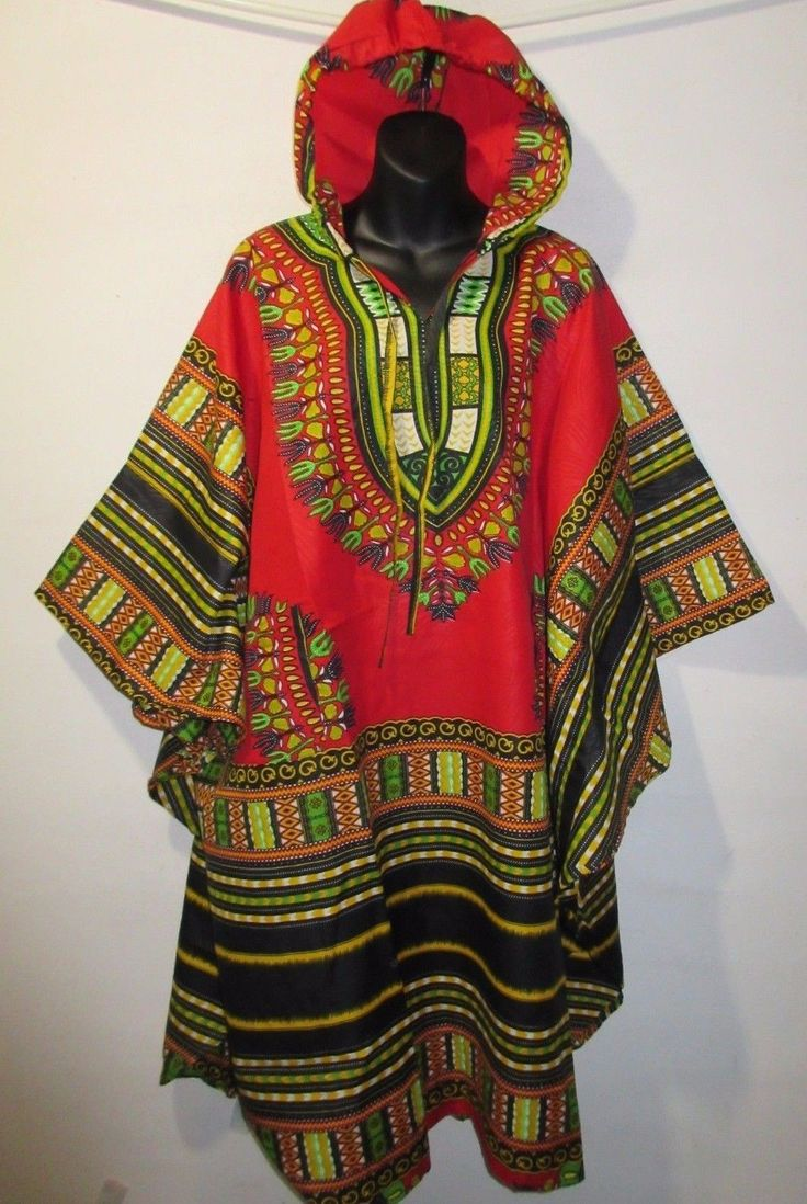 Hoodie Top Fit 3X 4X 5X Plus Hoodie Red Green African Dashiki With Hood Nwt G825