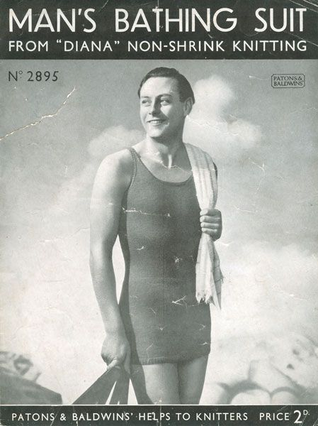 """One of the first chest-revealing suits for men appeared in 1932 and was called the """"Topper."""" The suit had a detachable top that could be zipped away from the trunk bottoms. (It looked like the picture above, but with a weird zipper around the waist.) Unfortunately, men who chose to appear topless at the time were often arrested for indecent exposure. Women whose legs were exposed were often arrested, too, so it wasn't sexism."""