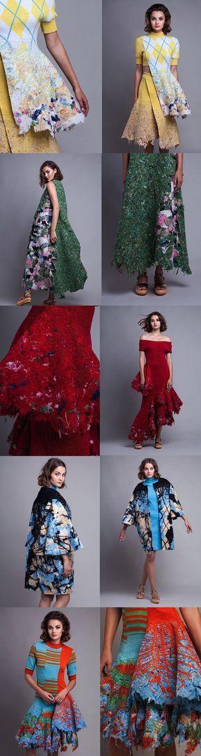 Vestidos feitos por Dana Cohen que utiliza resíduos têxteis para sua coleção de moda sustentável. Simplesmente incrível.