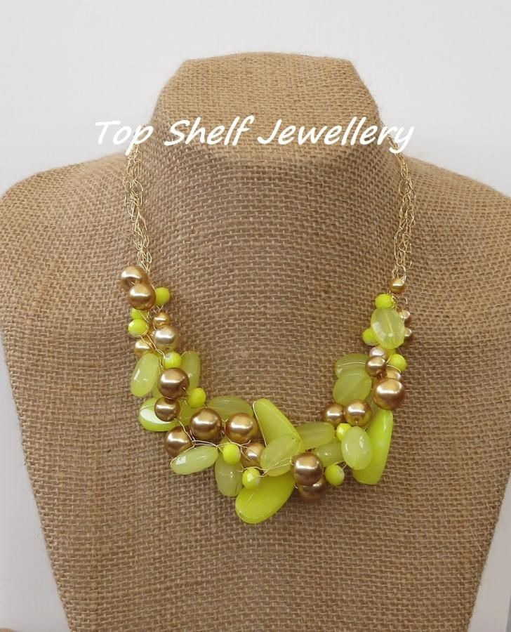 Lemon Yellow Gold Crochet Wire and Beaded Bib Necklace - Jewelry creation by Top Shelf Jewellery & Accessories