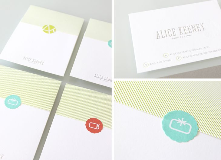 Stitch Design Co for Alice Keeney Photography. Love the muted grey business card and the die-cut stickers. Great idea. (Could have sworn that I pinned this yesterday) #identity #branding