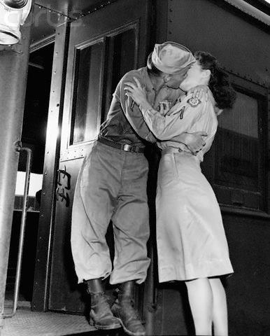 11 Aug 1945, Newport News, Virginia, USA --- A military couple kiss goodbye passionately at Camp Patrick Henry in August 1945 as he gets on a train for a new placement.Ww2 Kisses, Kisses Vintage, Camps Patricks, Kisses Goodbye, Patricks Henry, Military Couples, Kisses Romances, 1940, Couples Kisses