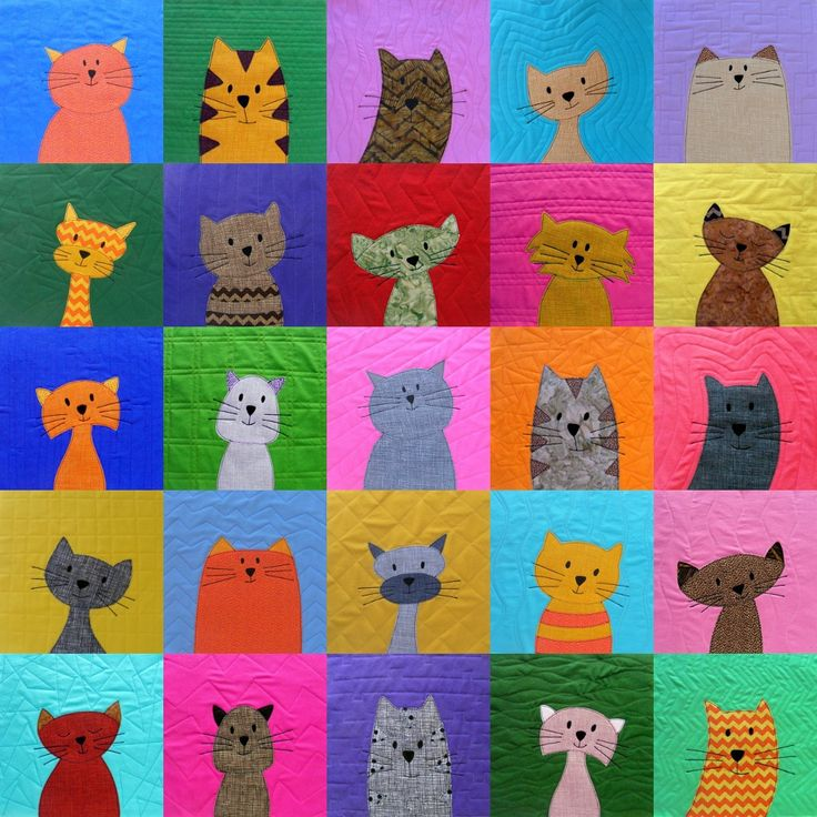 Crib-sized Cats Quilt - Pattern from Shiny Happy World