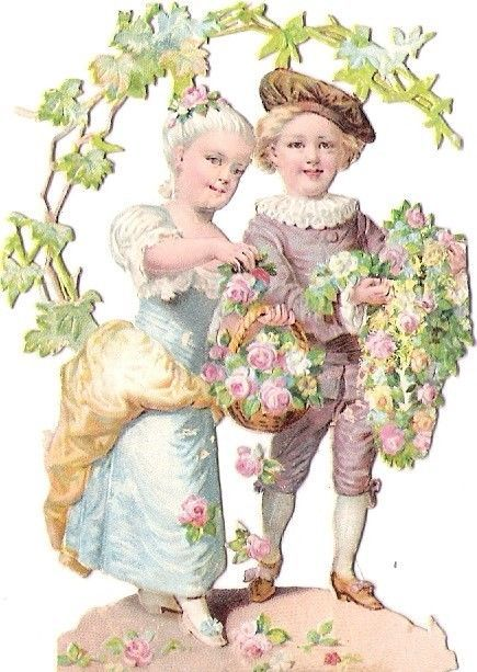 Oblaten Glanzbild scrap die cut chromo Kind child couple Paar romantic rose
