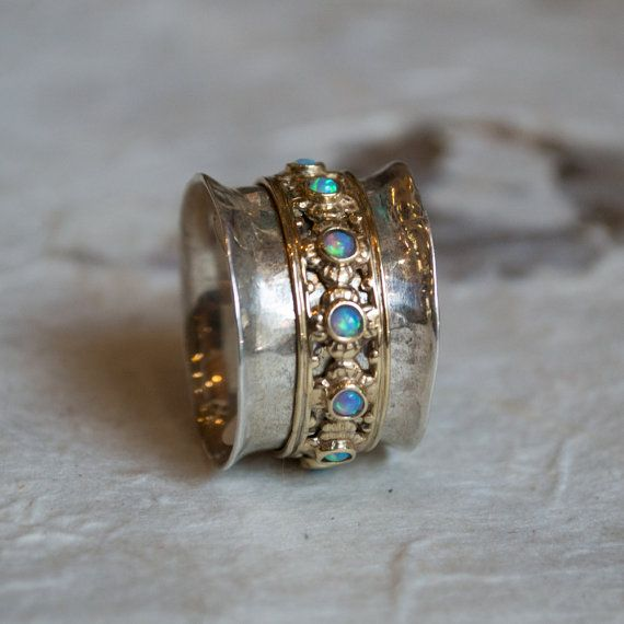 silver gold wedding band spinner ring opal ring by artisanlook - Hippie Wedding Rings