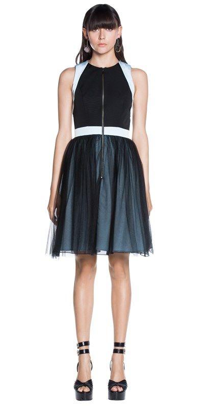 Dresses   Tulle Contrast Zip-Front Dress