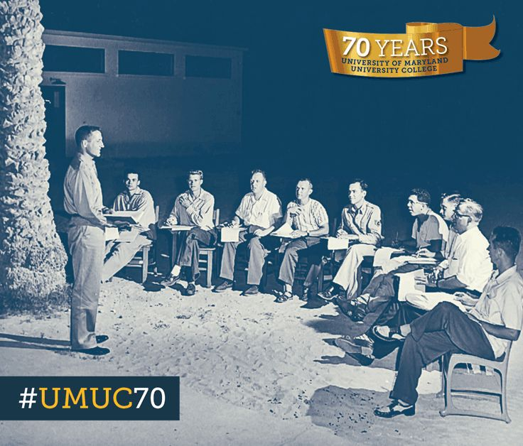 Major Nathan Pollack's  economics class fought the North African heat by meeting outdoors at Wheelus Air Force Base in Tripoli, Libya. #ThrowbackThursday #umuc70