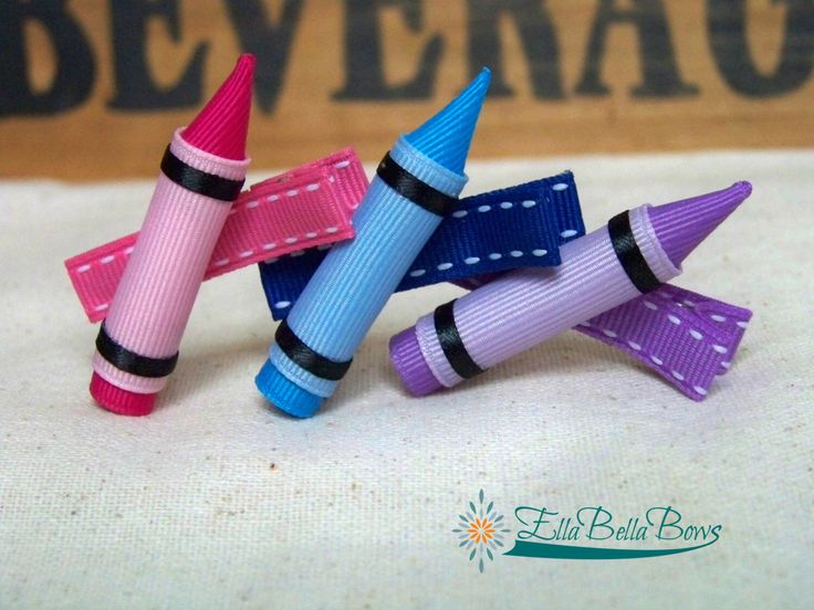Crayon Ribbon Sculpture Hair Clip, Back To School Hair Bow, Choose your color, one (1) by EllaBellaBowsWI on Etsy https://www.etsy.com/listing/202760989/crayon-ribbon-sculpture-hair-clip-back
