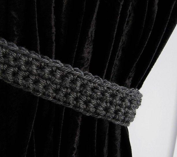 Dark Gray Curtain Tiebacks, Curtain Tie Backs, One Pair, Solid Dark Grey, Drapery Ties, Drapes Holders, Crochet Knit..Ready to Ship & Custom