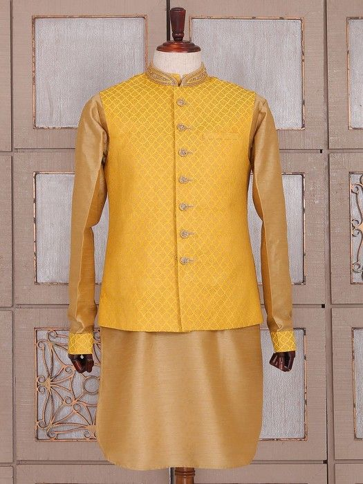 Beige And Yellow Silk Waistcoat Set, indo western outfit for men