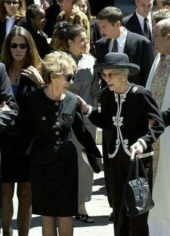 Two wives: Nancy Reagan and Jane Wyman at Ronald Reagan's funeral.