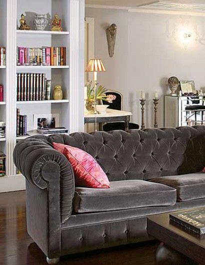 Silver grey velvet tufted sofa. Veranda Magazine. I NEED THIS for my one day new house!