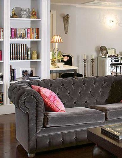Silver grey velvet tufted sofa. Veranda Magazine. I NEED THIS for my one day new house!