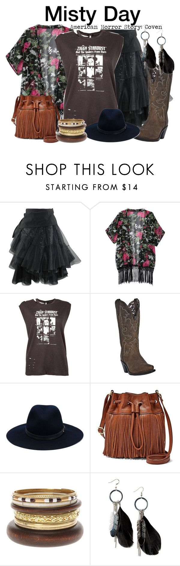 """""""Misty Day - American Horror Story: Coven"""" by nerd-ville ❤ liked on Polyvore featuring R13, Dan Post, rag & bone, FOSSIL, MANGO, women's clothing, women, female, woman and misses"""