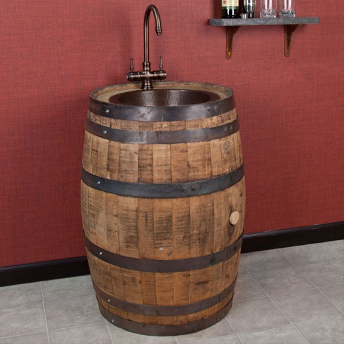 Would look awesome in a bathroom dream home pinterest for Whiskey barrel bathtub