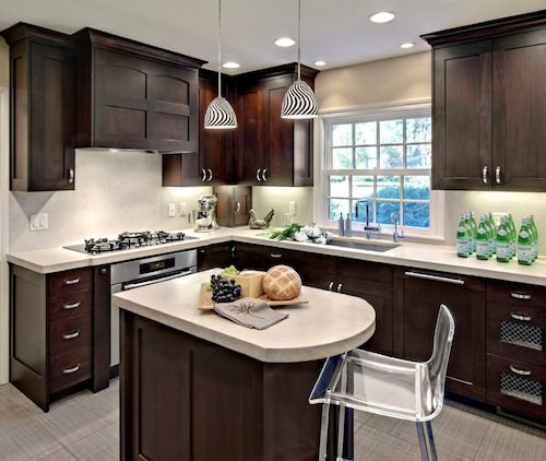 small kitchen dark wood cabinetry  Places & Spaces  Pinterest