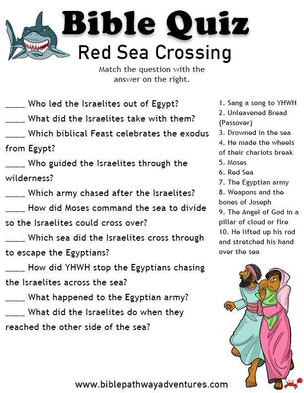 Fun Torah Quiz for elementary students - the Exodus and the Red Sea Crossing.