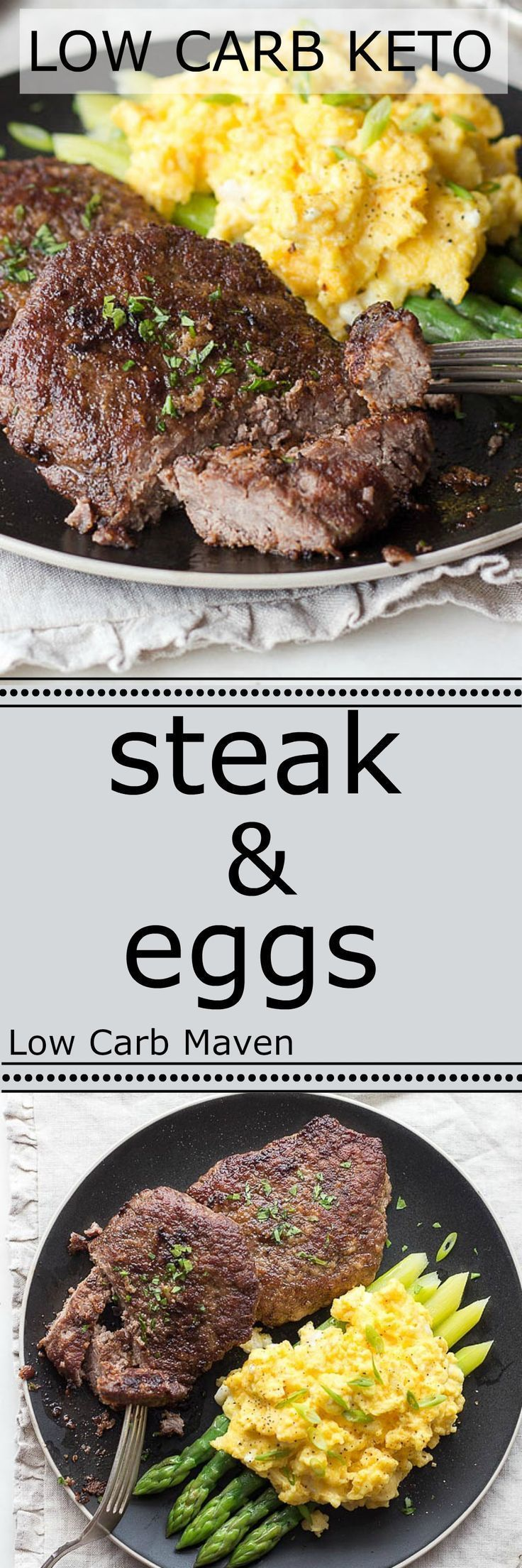 A great low carb breakfast of steak and cheesy scrambled eggs is ready in minutes. Keto: