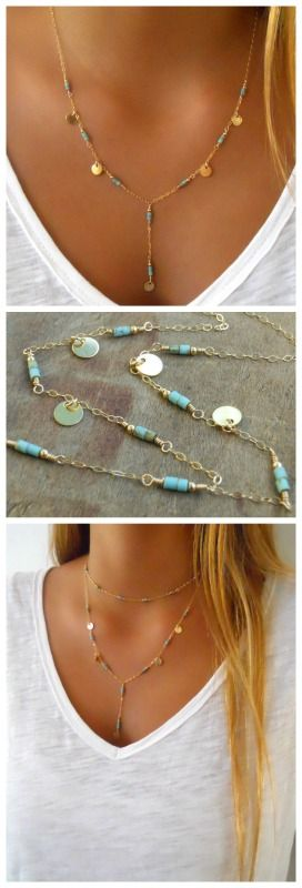 A delicate gold and turquoise lariat necklace. Perfect to wear alone or layered with other necklaces.
