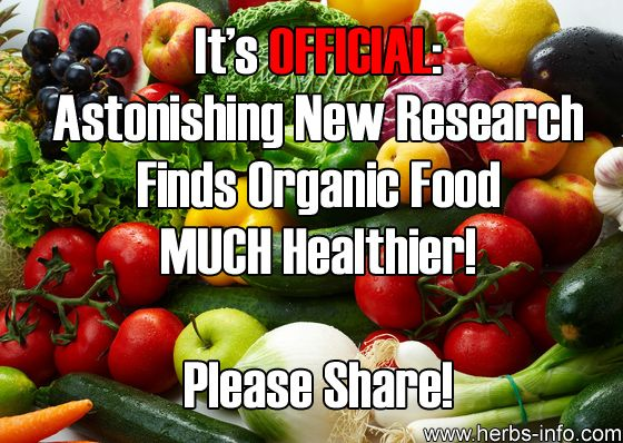 It's Official – Astonishing New Research Finds Organic Food MUCH Healthier!►►http://herbs-info.com/blog/astonishing-new-research-finds-organic-food-much-healthier/?i=p