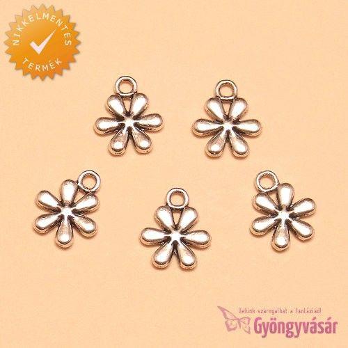 Ezüstszínű liliom virág - nikkelmentes fém zsuzsu / fityegő • Gyöngyvásár.hu
