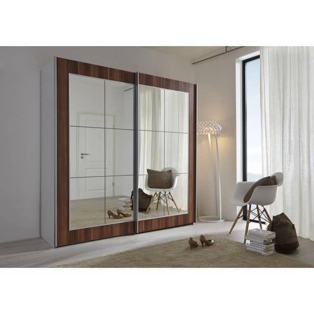 Marvelous Schwebet renschrank Kleiderschrank silber Walnuss mit Spiegel Navena M bel Galerie exclusive Designs