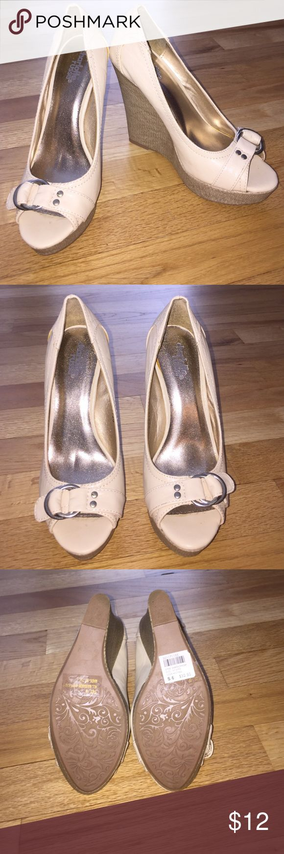 Charlotte Russe Cream Wedges Brand new, never worn!  Cream wedge with buckle accent. Charlotte Russe Shoes Wedges