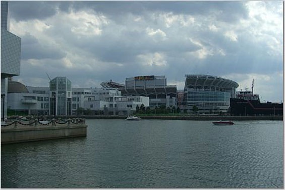 View from North Coast Harbor of the Great Lakes Science Center and Cleveland Browns Stadium