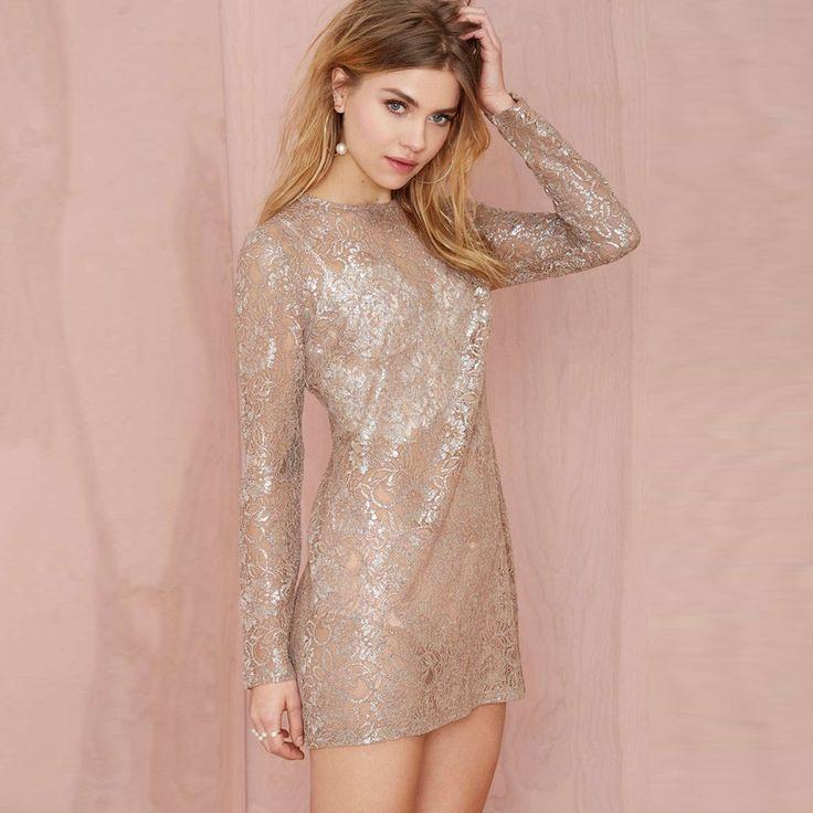 HDY Haoduoyi Autumn Gold Long Sleeve Women Mini Dress O Neck Lace Sheer A Line Dress For Women Streetwear Female Casual Dress