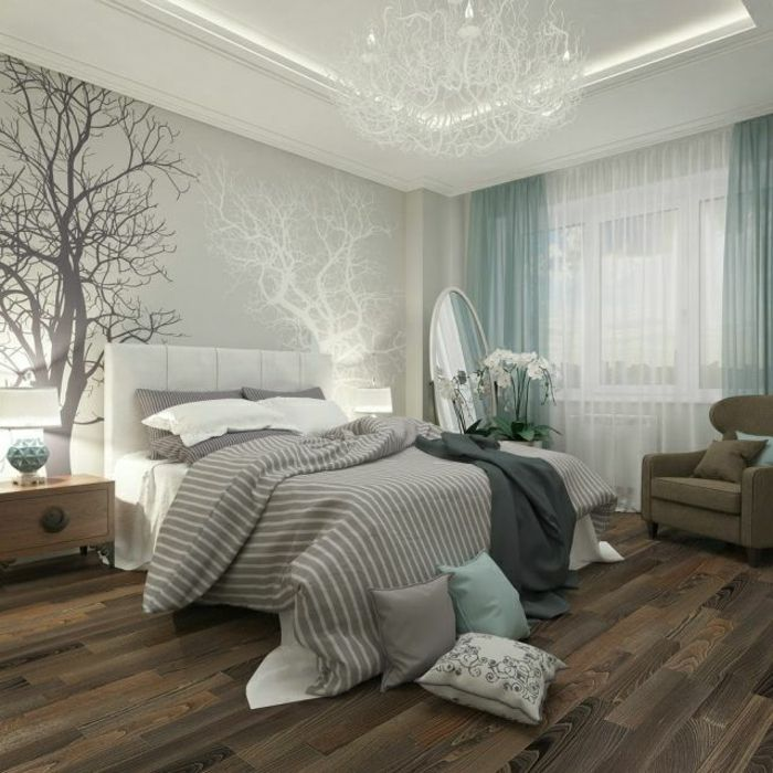 schlafzimmergestaltung hellgrau wandfarbe holzoptik laminat