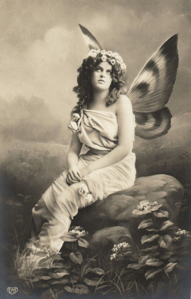 Beautiful Butterfly Lady on Rock Vintage Photo Postcard ...
