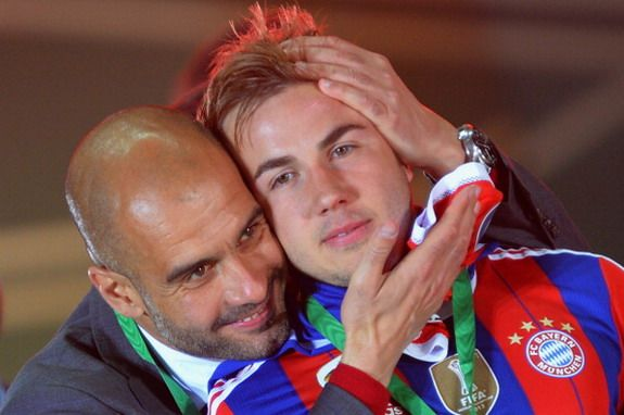 Caption This: Pep Guardiola shares romantic moment with Mario Götze