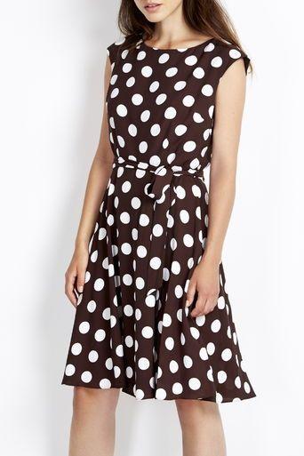 Brown Full Skirt Spot Dress