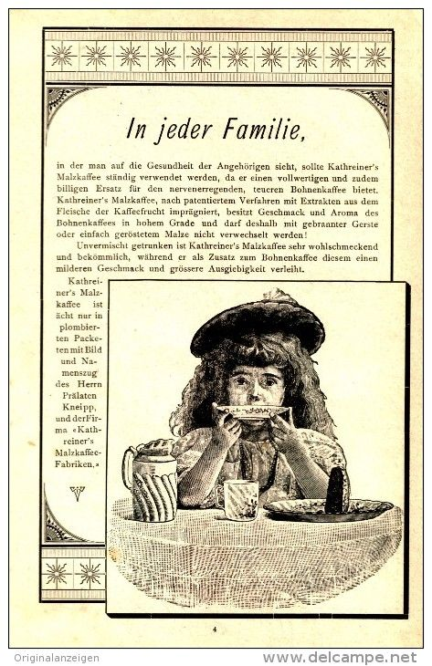 Original-Werbung/ Anzeige 1897 - KATHREINER'S MALZKAFFEE - ca. 115 x 180 mm