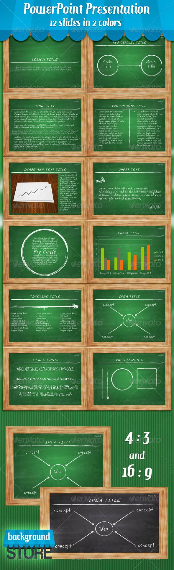 Blackboard PowerPoint Presentation  #GraphicRiver         Blackboard PowerPoint Presentation witch editable slides! 12 Power Point Slides in 2 colors (.ppt .pptx) 2 Presentation Formats: 4×3 and 16×9 HD JPG Background in 2 colors (3000×2500 150dpi) 4 Png Elements that you can use in your presentation Live Preview:  .slideshare /BackgroundStore/blackboard-powerpoint-template      Created: 30May13 PixelDimensions: 3000x2500 PresentationFilesIncluded: PowerpointPPT #PowerpointPPTX #JPGImage…