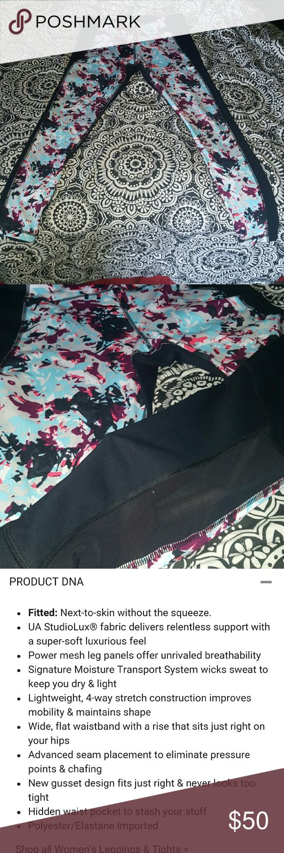 New Under Armour Leggings New, ladies size large heat-gear mirror printed studio leggings. Very nice print & colors. Back calf area has a see through area with sheer type of fabric. 3rd pic has detailed info from website. The back side is all plain black. Any questions feel free to ask. They are sold out online. I paid 75$ for these not long ago. They are just to big for me so I don't have any use for them, thats all. They're brand new, my loss Under Armour Pants Leggings