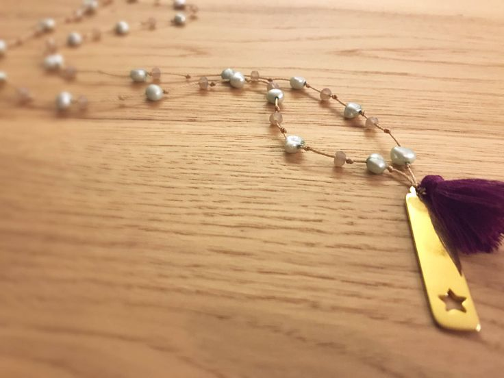 Handmade beaded tassel rosary necklace ..