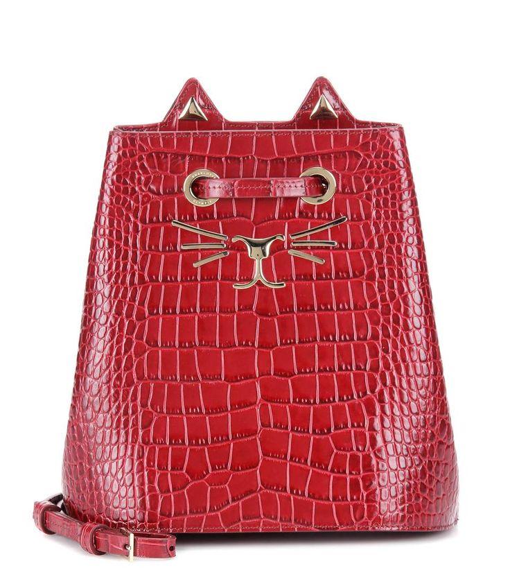 mytheresa.com - Feline embossed leather bucket bag - Luxury Fashion for Women / Designer clothing, shoes, bags