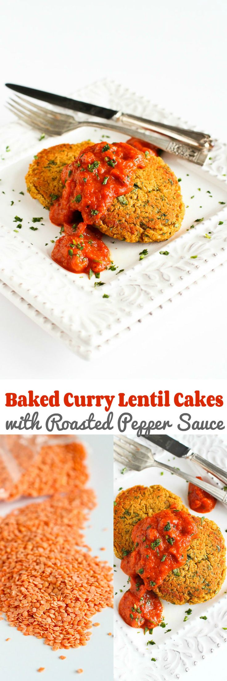 Baked Curry Lentil Cakes with Roasted Pepper Sauce Recipe…A satisfying, light vegan meal! 201 calories and 4 Weight Watcher SmartPoints