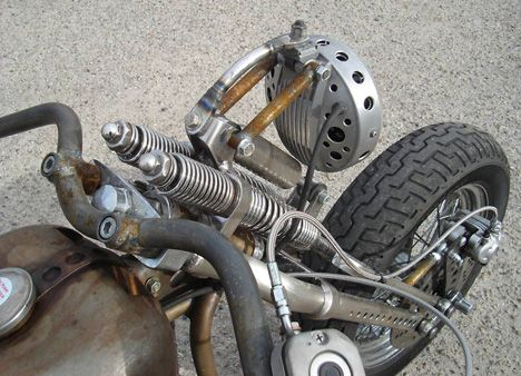 Picture of 1974 Harley Shovelhead Bobber in Salt Flat Racing style by Bent Brothers.