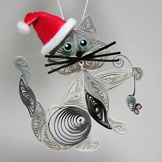 Quilled / Filigree Santa's Helper-Kitty Cat Hanging Ornament: Silver Gray with Touches of Black, Blue Colored Eyes Holding a Tiny Gray Mouse...