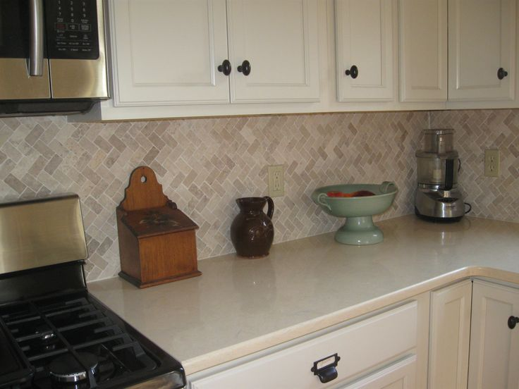 Cream Herringbone Stone Mosaic Tile Kitchen Tile Kitchen Backsplash Contemporary Kitchen