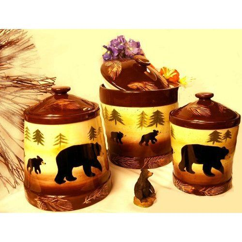 Bear kitchen canisters black bear kitchen for Bear home decorations