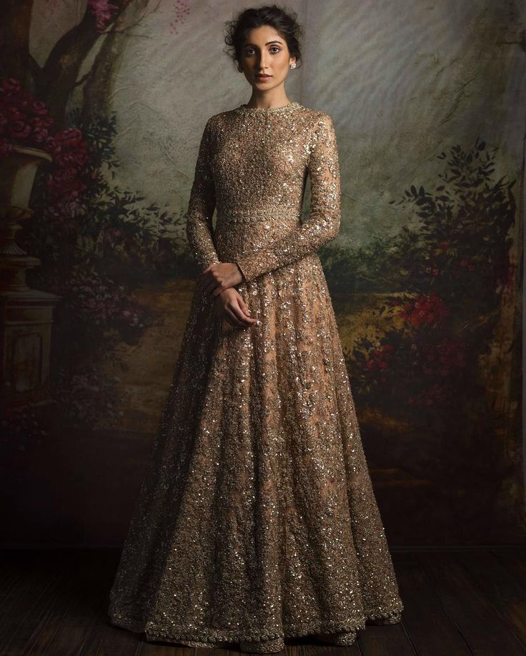Heavy gold and dirty pink anarkali gown for bride's Reception or Engagement - Sabyasachi 2016