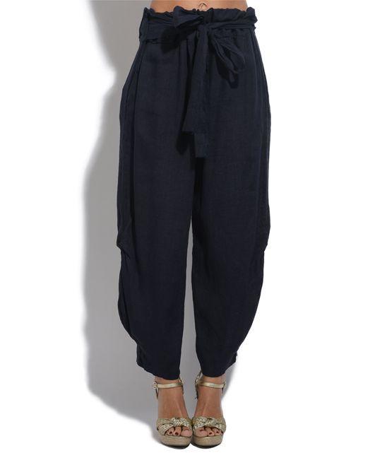 Black Linen Harem Pants