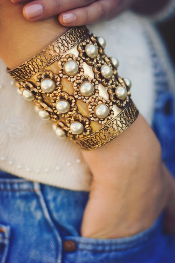Stunning pearl-accented golden cuff