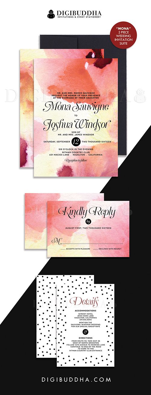 wedding reception directions card%0A Elegant modern wine red watercolor wedding invitations with black  u     white  dot detailing in a   piece suite including RSVP reply card and Details    Info