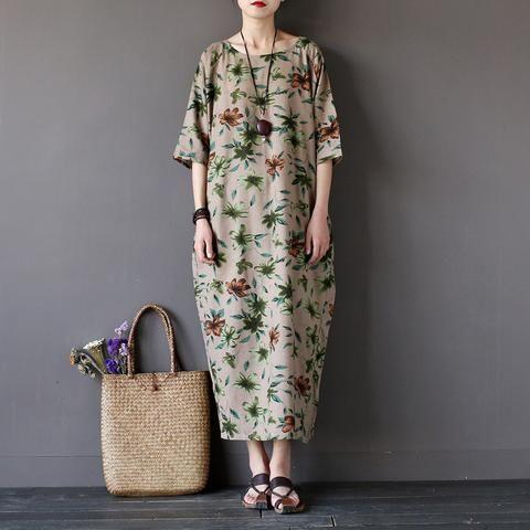Women summer flower printed cotton linen maxi dress